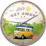 Wandklok VW Bulli Lets Get Away_