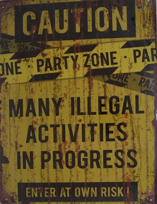 Caution Party Zone 33x25