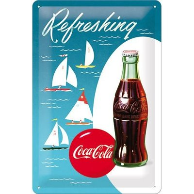 Coca-Cola Bottle met zeilboot 20x30 3D