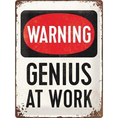 Warning Genius at work 30x40 3D