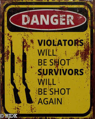 Danger, Violators will be shot 25x20