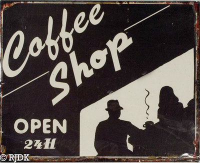 Coffee Shop, Open 24H 25x20