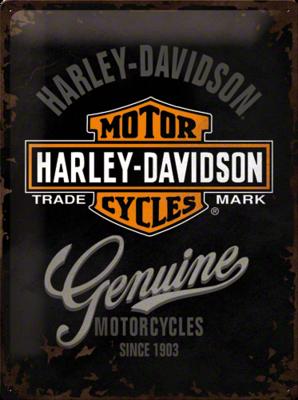 Harley Davidson Genuine Logo Black 30x40 3D