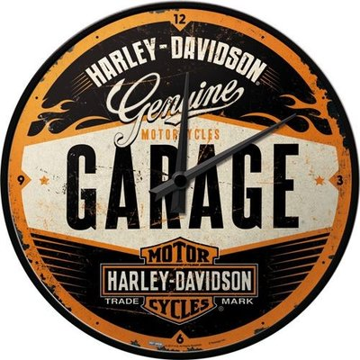 Wandklok Harley Davidson Garage 3D
