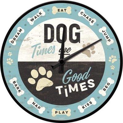 Wandklok Dog Times 3D