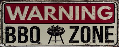Warning BBQ zone 20x50