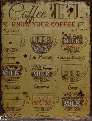 Coffee Menu, Know your Coffee 33x25