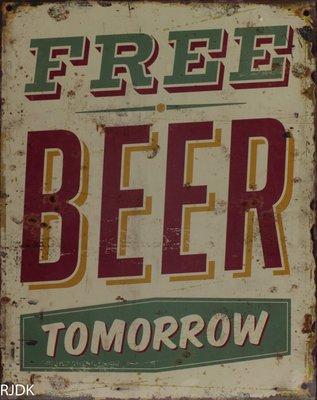 Free beer tomorrow 25x20