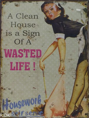 A Clean house is a sign of a wasted life! 33x25
