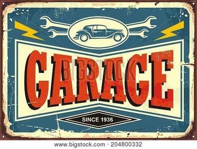 "2D bord ""Garage since 1936"" 25x20cm"