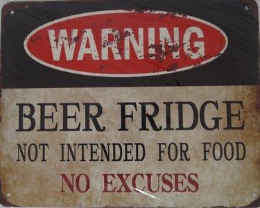 Warning Beer Fridge 20x25
