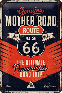 "3D bord ""Route 66 The ultimate road trip"" 20x30cm"