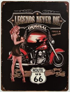 "2D bord ""Legends never Die original Route 66"" 33x25cm"