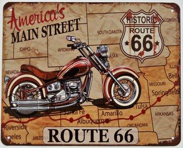 "2D bord ""Route 66 America's Main street"" 20x25cm"