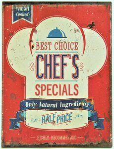 """2D bord """"Best choice Chef's specials"""" 33x25cm"""