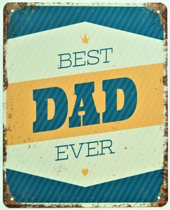 """2D bord """"Best DAD Ever"""" 25x20cm"""