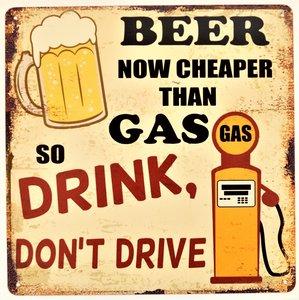 "2D bord ""Beer now cheaper than Gas"" 30x30cm"