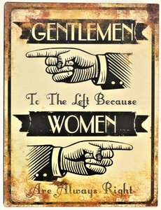 "2D bord ""Gentlemen to the Left"" 33x25cm"