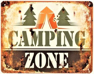 "2D bord ""Camping Zone"" 20x25cm"