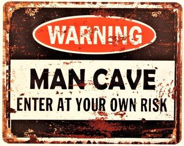 "2D bord ""Warning man cave"" 20x25cm"