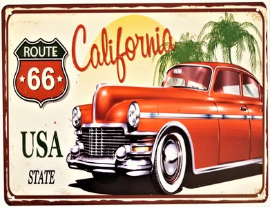 "2D bord ""Route 66 California"" 33x25cm"
