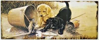 "2D bord ""Twee hondjes"" 20x50cm"