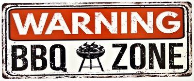 """2D bord """"Warning BBQ zone"""" 20x50cm"""