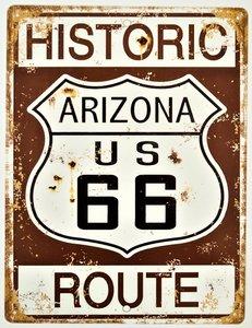"2D bord ""Historic Arizona US 66 Route"" 33x25cm"