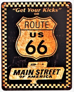 "2D bord ""Route 66, Get your kicks on"" 25x20cm"