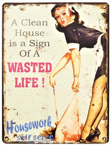 "2D bord ""A Clean house is a sign of a wasted life!"" 33x25cm"