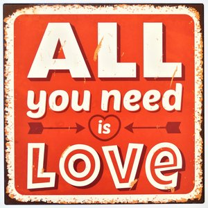 """2D bord """"All you need is Love"""" 30x30m"""