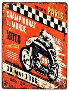 """2D bord """"Circuit de Paris 30 mai 1966"""" 33x25cm"""