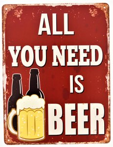 "2D bord ""All you need is Beer"" 33x25cm"