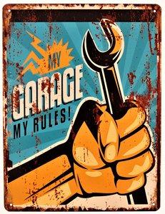 "2D bord ""My garage My rules (steeksleutel)"" 33x25cm"