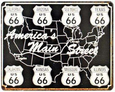 "2D bord ""Route 66 America's Main Street"" 25x20cm"