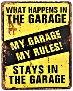 "2D bord ""My garage My Rules"" 25x20cm"