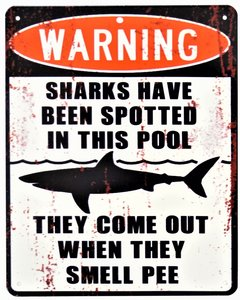 """2D bord """"Waning Sharks have been spotted"""" 20x25cm"""