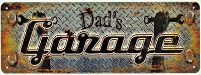 """2D bord """"Dad's Garage"""" 13x36cm"""