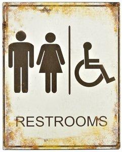 """2D bord """"Restrooms"""" 25x20cm"""