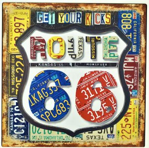 "2D bord ""Get your Kicks, Route 66"" 30x30cm"