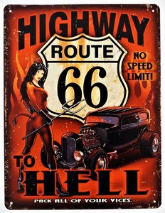 """2D bord """"Route 66 Highway to Hell"""" 33x25cm"""