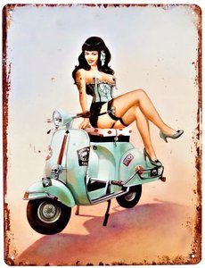 """2D bord """"Girl on Scooter"""" 25x33"""