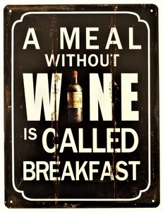 "2D bord ""A meal without Wine"" 33x25cm"