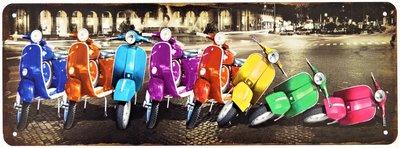"2D bord ""8x Vespa Scooters"" 13x36cm"