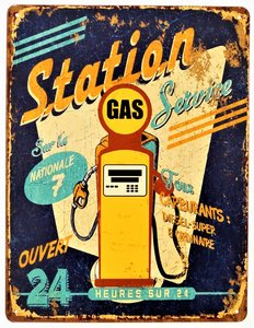 """2D bord """"Gas and Service station"""" 33x25cm"""