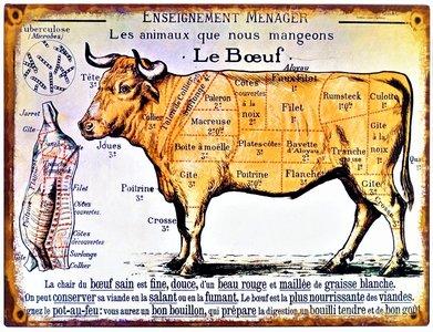"""2D bord """"Le Boeuf"""" 25x33cm"""