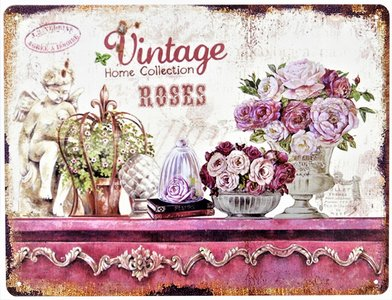 """2D bord """"Vintage Home Collection Roses"""" 25x33cm"""