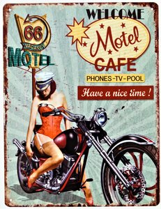 "2D bord ""Welcome Motel Cafe"" 33x25cm"