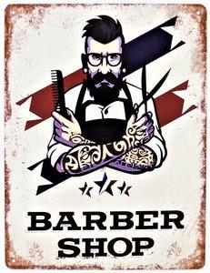 """2D bord """"Barber Shop"""" 33x25cm"""
