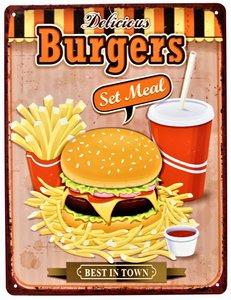 "2D bord ""Delicious Burgers"" 33x25cm"
